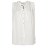 Paul Smith Tops - White Sleeveless Tie Neck Top