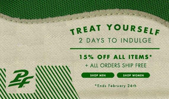15% Off All Items + Free Shipping Thru Feb 26th
