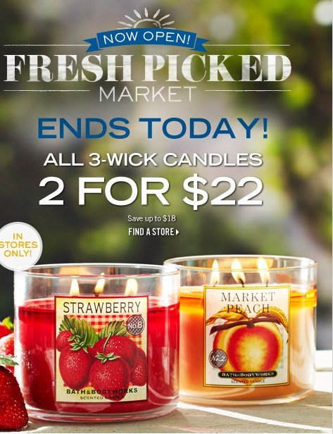 In Stores Only! 2 for $22, 3-Wick Candles
