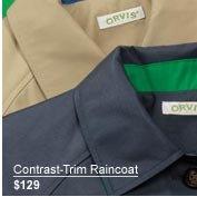 Contrast-Trim Raincoat $129