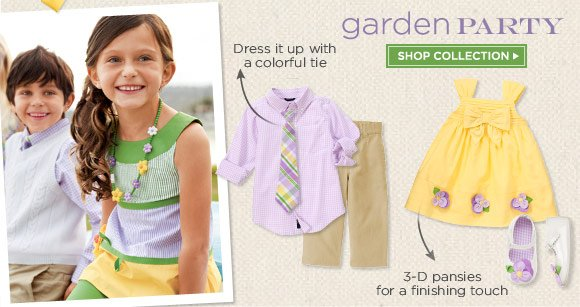 Garden Party. Dress it up with a colorful tie. 3-D pansies for a finishing touch. Shop Collection.