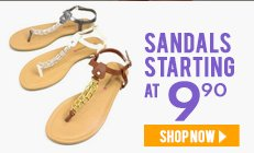 Sandals starting at $9.90