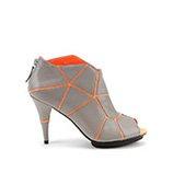 Mosaic Peeptoe   Grey + Neon Orange