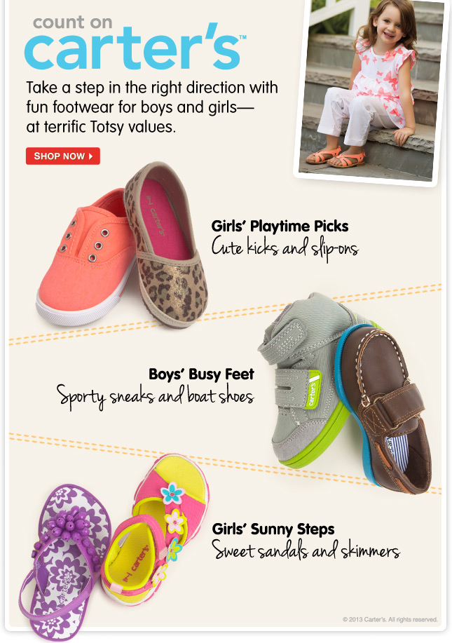 Count on Carter's! Shop terrific Totsy values on footwear from the kid-favorite brand.