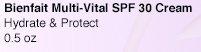 Bienfait Multi-Vital SPF 30 Cream | Hydrate & Protect | 0.5 oz.