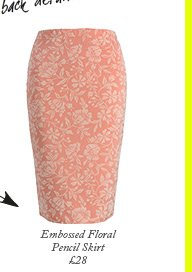 Embossed Floral Pencil Skirt