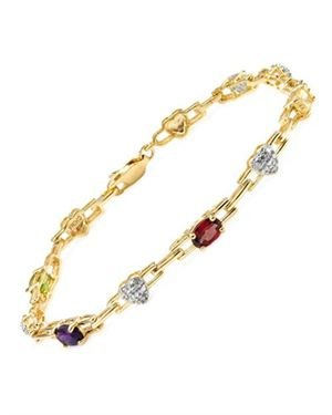 Ladies Garnet Bracelet Designed In Two Tone Gold Plated Silver $19