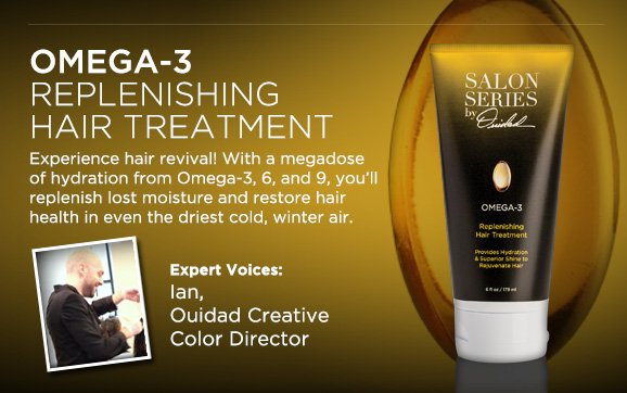 OMEGA-3 REPLENISHING HAIR TREATMENT Experience hair revival! With a megadose of hydration from Omega-3, 6, and 9, you'll replenish lost moisture and restore hair health in even the driest cold, winter air.