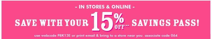 Extra 15% Off Savings Pass!