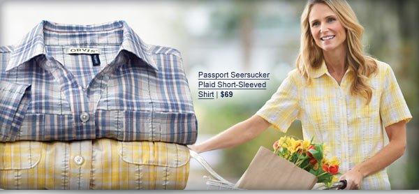 Passport Seersucker Plaid Short-Sleeved Shirt | $69
