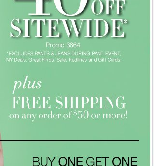 40% off sitewide! Plus free shipping on orders of $50 or more! Shop now