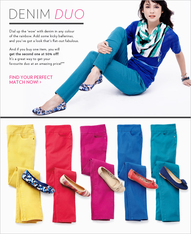 Dial up the 'wow' with denim in any colour of the rainbow.