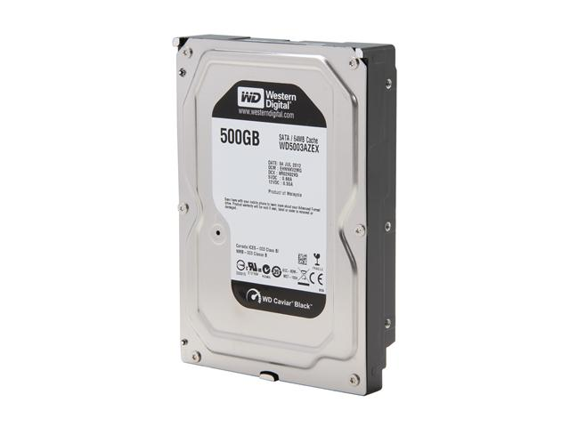 Western Digital WD Black WD5003AZEX 500GB 7200 RPM 64MB Cache SATA 6.0Gb/s 3.5 inch Internal Hard Drive - Bare Drive