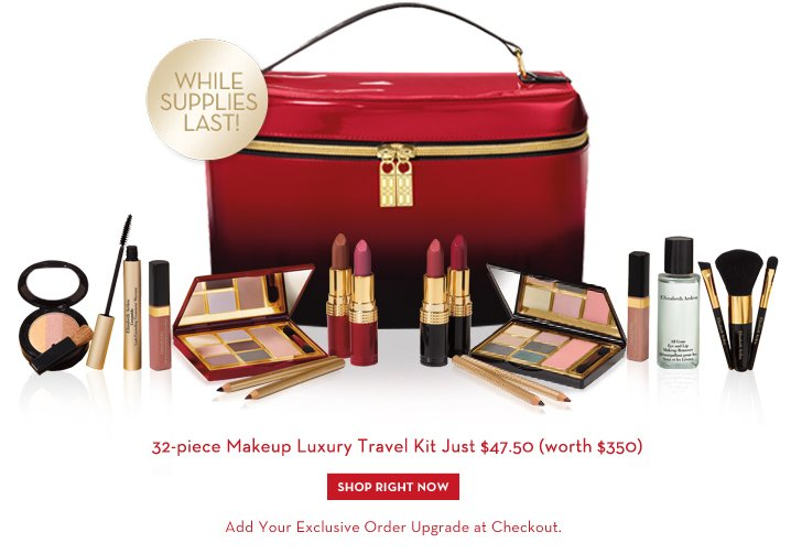 32-piece Makeup Luxury Travel Kit Just $47.50 (worth $350). SHOP RIGHT NOW. Add Your Exclusive Order Upgrade at Checkout. WHILE SUPPLIES LAST!