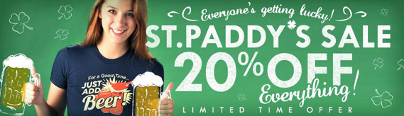 20% off everything for St. Paddys