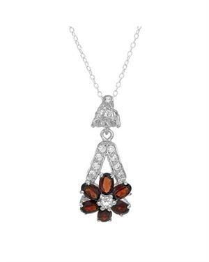 Ladies Garnet Necklace Designed In 925 Sterling Silver $29
