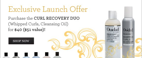 Exclusive Launch Offer - Purchase the CURL RECOVERY DUO (Whipped Curls, Cleansing Oil) for $40 ($51 value)! SHOP NOW