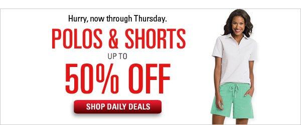 50% off Polos & Shorts