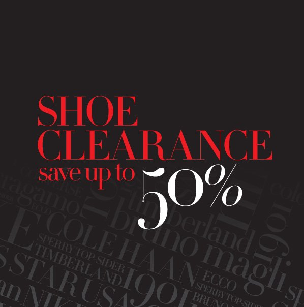 SHOE CLEARANCE - save 50% or more