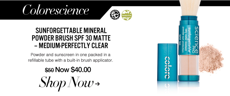 Shopper's Choice, Paraben-free Colorescience Sunforgettable Mineral Powder Brush SPF 30 Matte – Medium-Perfectly Clear Powder and sunscreen in one packed in a refillable tube with a built-in brush applicator. $50 Shop Now>>