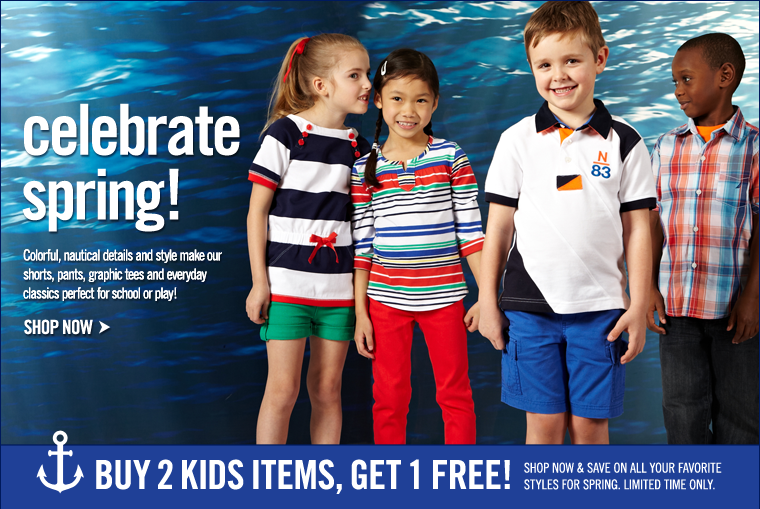 Celebrate Spring! Buy 2 Kids items, Get 1 Free!