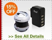 48 HOURS ONLY! 15% OFF SELECT PORTABLE ELECTRONICS CHARGERS / DOCKS / SPEAKERS!*