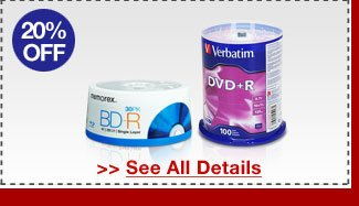 24 HOURS ONLY! 20% OFF ALL BLANK CD / DVD / BLU-RAY MEDIA!*