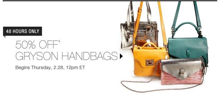 50% Off* Gryson Handbags...Shop Now