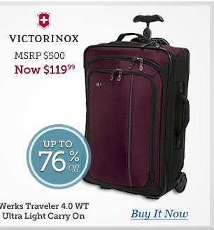 Victorinox Werks Traveler 4.0 WT Ultra Light Carry On | MSRP $500 Now $119.99 | Buy Now
