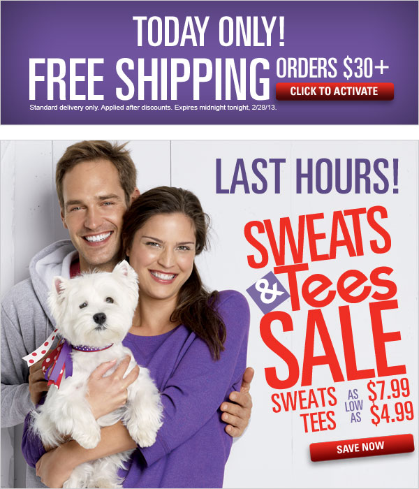 Free Shipping offer on orders $30+