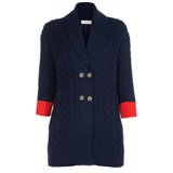 Paul Smith Knitwear - Navy Double-Breasted Chunky Cardigan