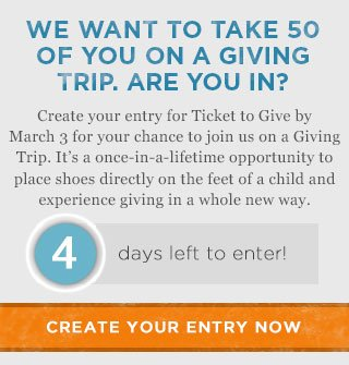 Ticket to Give - 4 days left to enter