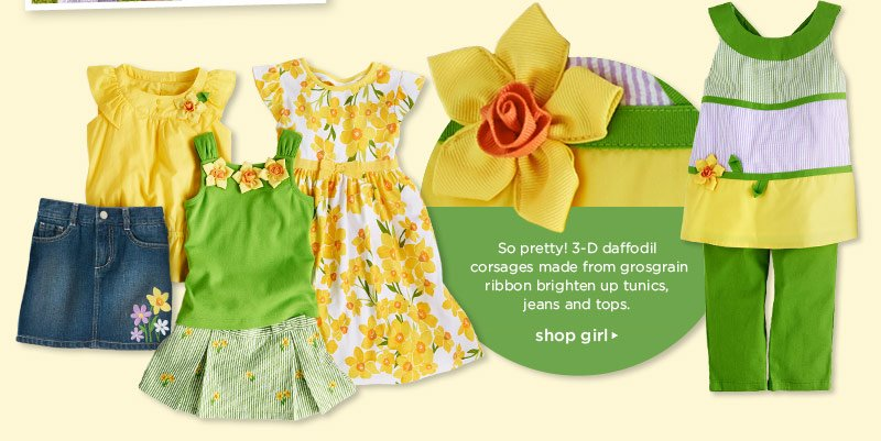 So pretty! 3-D daffodil corsages made from grosgrain ribbon brighten up tunics, jeans and tops. Shop girl
