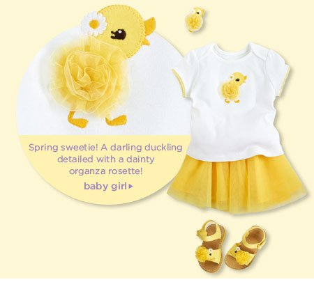 Spring sweetie! A darling duckling detailed with a dainty organza rosette! Baby Girl