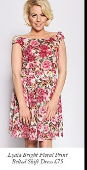 Lydia Bright Floral Print Belted Shift Dress