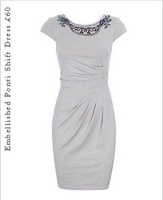 Embellished Ponti Shift Dress