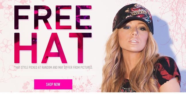 Get a Free Hat with Purchase of ANY Sinful product!
