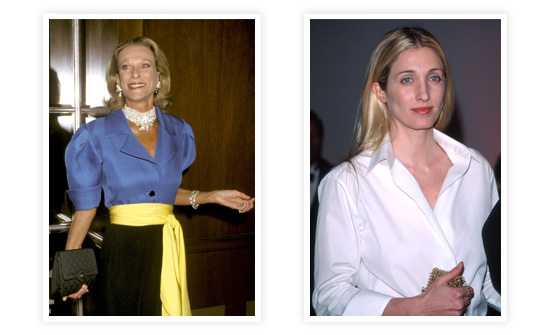 Style icons Nan Kempner (left) and Carolyn Bessette-Kennedy (right).