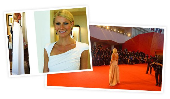 Left: In Tom Ford for the 2012 Oscars. Right: Wearing Prada at the Venice Film Festival.