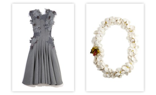 An exquisitely detailed dress from Thom Browne (left), and a leather necklace from Patricia Viera.