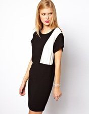 ASOS Shift Dress with Colour Block Panel