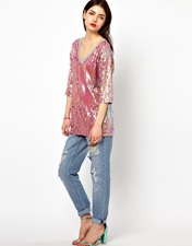 ASOS Oversized T-Shirt in Sequin with V Neck