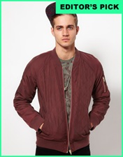 ASOS Bomber Jacket In Quilted Fabric