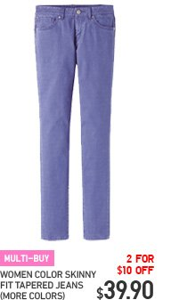 WOMEN COLOR SKINNY FIT TAPERED JEANS