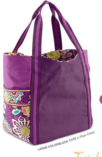 Large Colorblock Tote in Plum Crazy