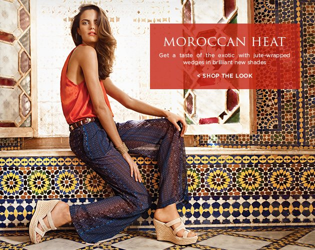 Moroccan Heat - Get a taste of the exotic with jute-wrapped wedges in brilliant new shades - Shop The Look >