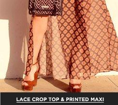 A Lace Crop Top & Printed Maxi
