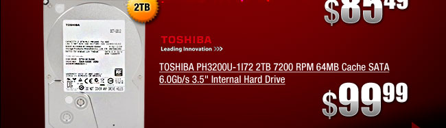 TOSHIBA PH3200U-1I72 2TB 7200 RPM 64MB Cache SATA 6.0Gb/s 3.5 inch Internal Hard Drive