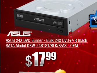 ASUS 24X DVD Burner - Bulk 24X DVD+/-R Black SATA Model DRW-24B1ST/BLK/B/AS - OEM