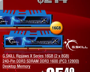 G.SKILL Ripjaws X Series 16GB (2 x 8GB) 240-Pin DDR3 SDRAM DDR3 1600 (PC3 12800) Desktop Memory